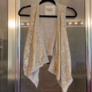 Abercrombie & Fitch gold sparkly vest SIZE XS